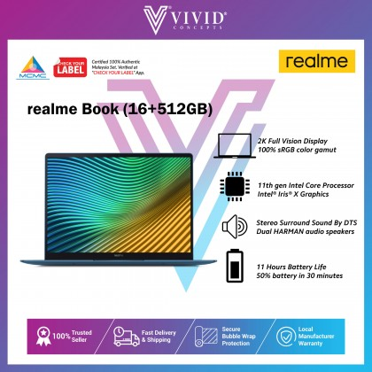 "[Early Bird Gift] realme Book [14"" 2K FullVision Display | Intel Core i5-1135G7 | 8/16GB RAM + 512GB SSD] Laptop"